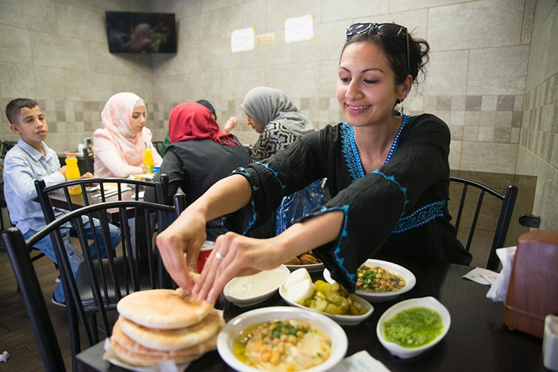 Yasmin Khan in a restaurant in Jerusalem
